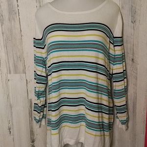 Sweaters - JESSICA LONDON White Striped Sweater 30/32